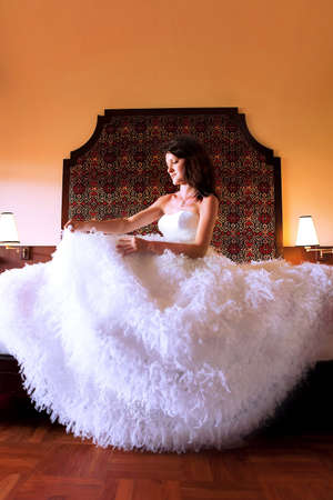 young woman in a chic wedding dress