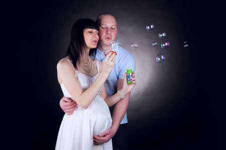 couple in love let bubbles photo
