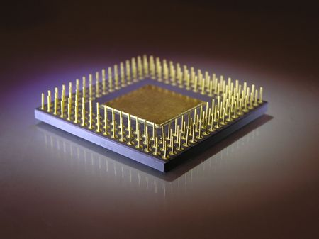 microprocessor: Microprocessor chip upside down in blue light
