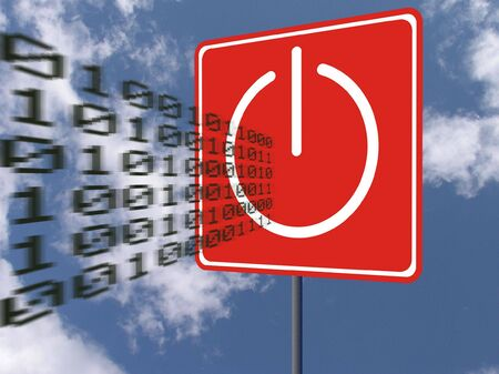 Road sign with power-off icon stops flying binary code over blue sky with clouds. Concept - technologies and nature photo