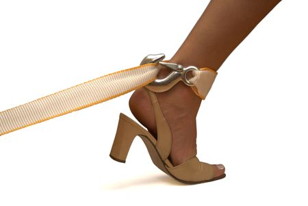 deliverance: Tied female leg in the shoe, trying to get free