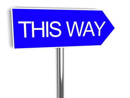 prompting: Road sign with wirds this way on blue background Stock Photo