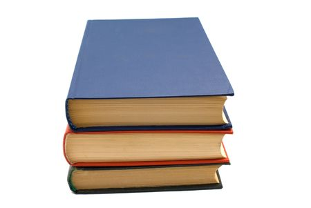 erudition: Stack of three books isolated over white