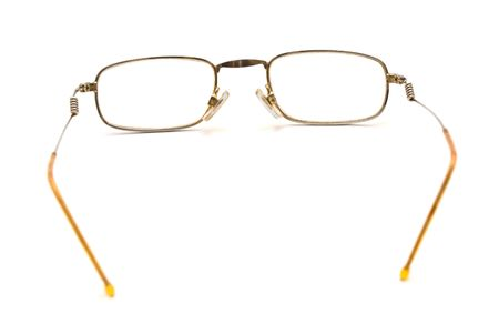 helthcare: Photo of spectacles wih thin rim isolated over white  Stock Photo