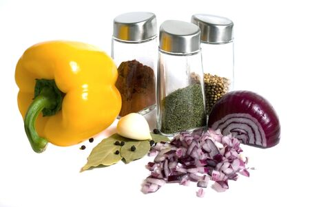 spicery: Spicery, pepper, onion, garlic and bay leaves isolated Stock Photo
