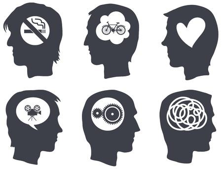 whitem: Six head profiles with idea symbols  Isolated