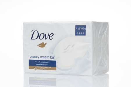 Dove Beauty cream bar soap is isolated on a white background.