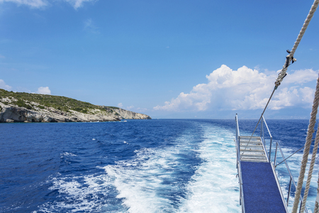 Ship gangway cash followed by a marine vessel
