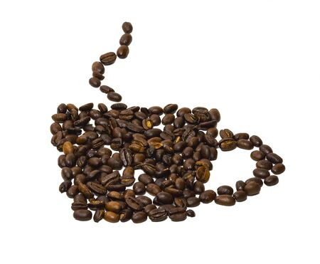 From coffee beans laid out on a white background silhouette of a cup of coffee