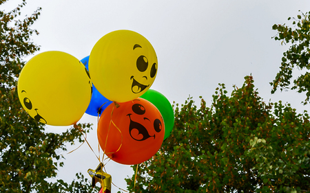 inflated: Baby balloons against the sky