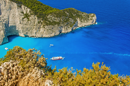 the sunken: The view from the height of the bay wreck of Zakynthos in Greece Stock Photo