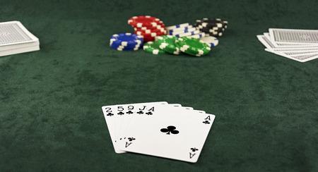 センターの緑のベーズのポットし、同じスーツの 5 枚のカードは、