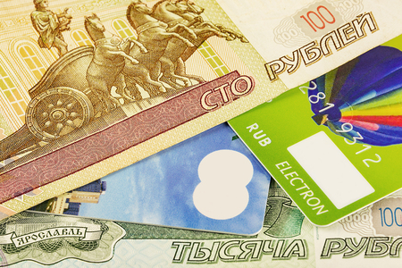 Part of the bank card cashless payment system and a part of Russian rubles banknotes
