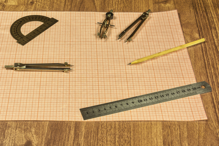 millimeter: Drawing accessories and millimeter paper Stock Photo