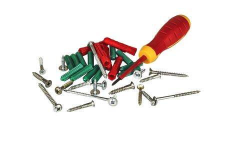 Screwdriver, screws and plastic dowels on a light background Stock Photo