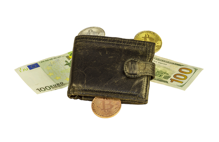 Leather purse, banknotes and coins of Bitcoin on white background, close-up