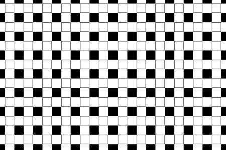 Geometric square shape in white and black color in seamless pattern on white background
