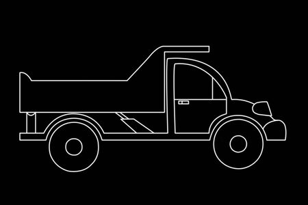 The contoured silhouette of the truck with a lifting body on a black background