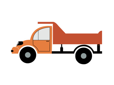 A colored silhouette of the truck with a lifting body on a white background