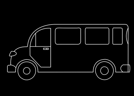 White silhouette of a passenger bus on a black background Stock Photo