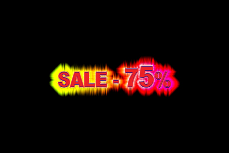 Discount seventy-five per cent of the simulated volume with a rainbow glow on a black background Stockfoto