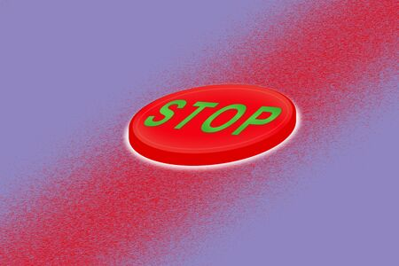 Volumetric red button that says stop on the gradient background