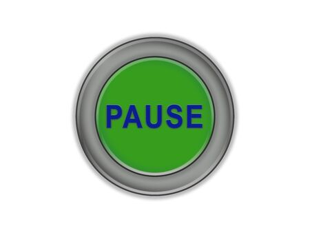 Volume green button with pause label, white background 写真素材