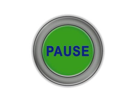 Volume green button with pause label, white background Foto de archivo