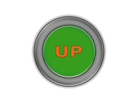 The inscription on the green volume up button, white background