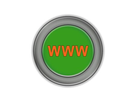 WWW inscription on a green volume button, white background