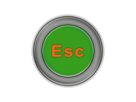 The letters Esc on a green volume button, white background Stock Photo