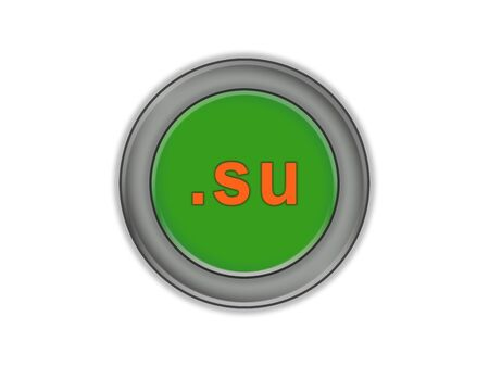 Volume green button with the designation of the domain of the USSR and Russia, white background Reklamní fotografie