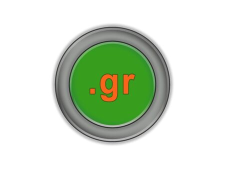 Three-dimensional green button with the designation of the domain of the country of Greece, white background