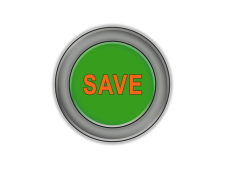 The green button with the volume and with the words SAVE, white background Stockfoto