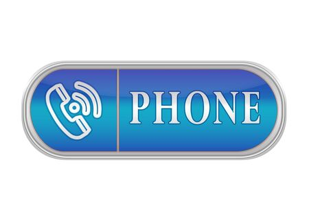 Oblong volume button of blue color with the icon and the inscription PHONE, white background
