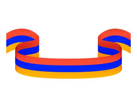 Bulk ribbon in three colors of the Armenian flag on a white background with space for inscriptions
