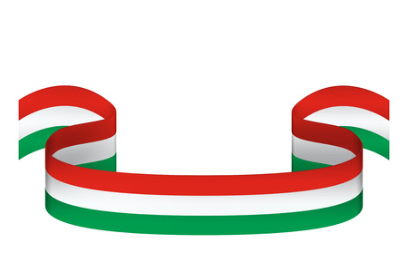 Volumetric ribbon in three colors of Hungary flag on white background with place for inscription