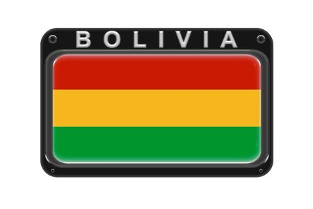 Surround the flag of Bolivia in the frame with rivets on white background 写真素材