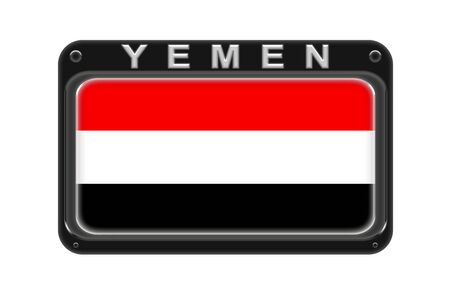 Surround the flag of Yemen in the frame with rivets on white background