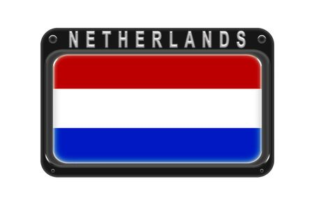 Surround the flag of Netherlands in the frame with rivets on white background