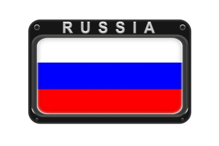 Surround the flag of Russia in the frame with rivets on white background