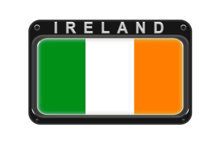 Surround the flag of Ireland in the frame with rivets on white background Stock Photo
