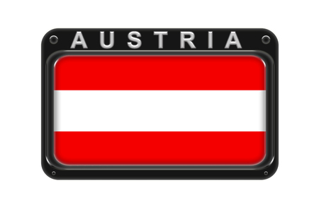 Surround the flag of Austria in the frame with rivets on white background Stock Photo