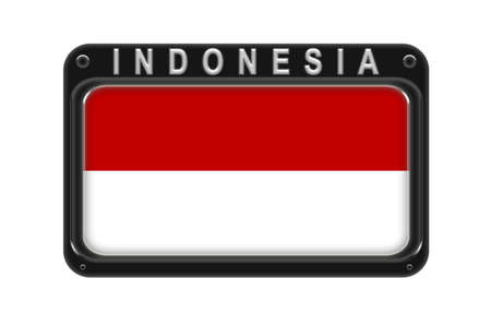 Surround the flag of Indonesia in the frame with rivets on white background