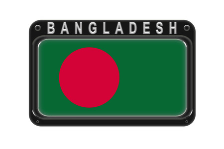 Surround the flag of Bangladesh in the frame with rivets on white background