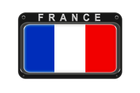 Surround the flag of France in the frame with rivets on white background