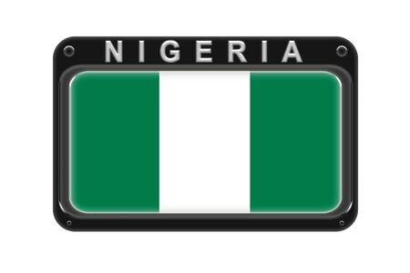 Surround the flag of Nigeria in the frame with rivets on white background