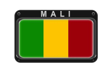 Surround the flag of Mali in the frame with rivets on white background