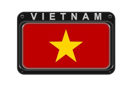 Surround the flag of Vietnam in the frame with rivets on white background Stock Photo