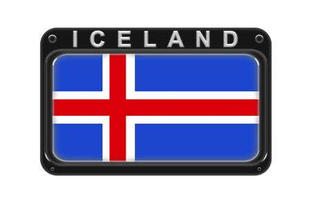 Surround the flag of Iceland in the frame with rivets on white background